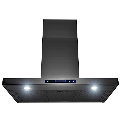 AKDY Island Mount Range Hood -36 Stainless-Steel Hood Fan for Kitchen - 3-Speed Professional Quiet Motor - Premium Touch Control Panel - Minimalist Design - Mesh Filters & LED Lights #touchpanel