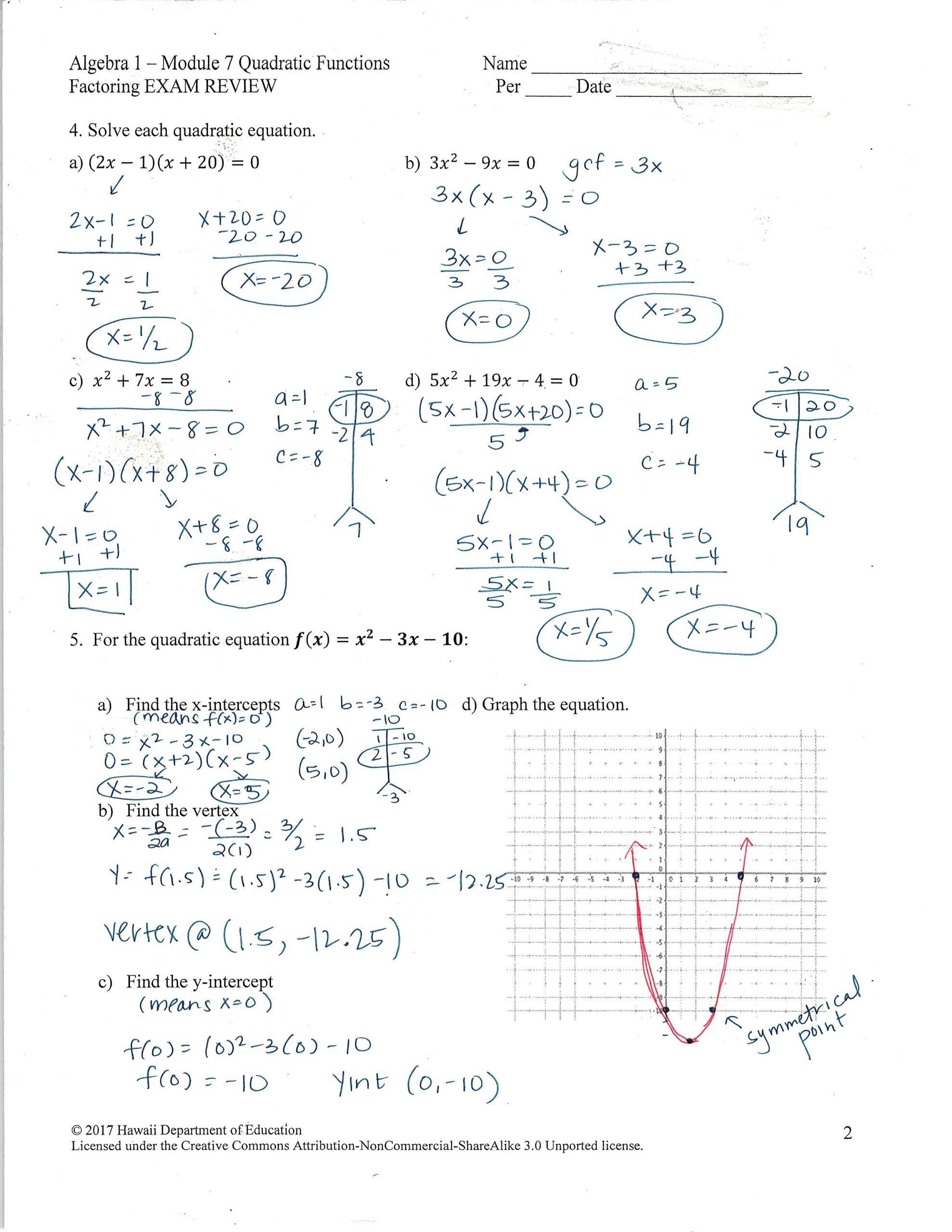 4 Solving Quadratic Equations By Factoring Worksheet In 2020 Solving Quadratic Equations Quadratics Graphing Quadratics