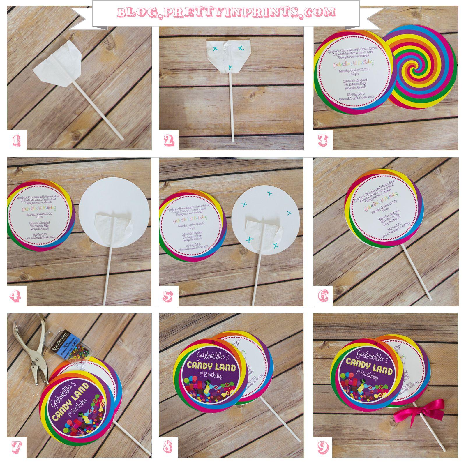 How To Make A Lollipop Invitation | Invitaciones para fiestas ...