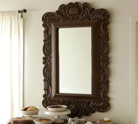 Bountiful Harvest Carved Mirror, Carved Wood Mirror Pottery Barn