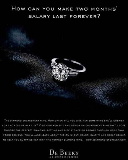 De Beers diamond two three months salary engagement rings wedding