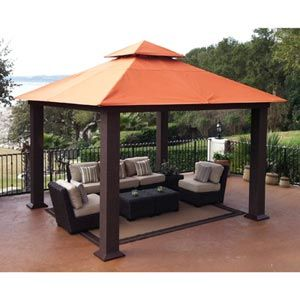 Costco Seville 12 X 12 Soft Top Gazebo Dark Resin Wicker Powder