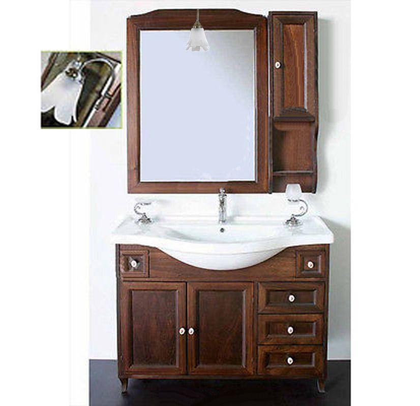Mobile bagno Ilaria in arte povera da 105 cm con specchio e ...