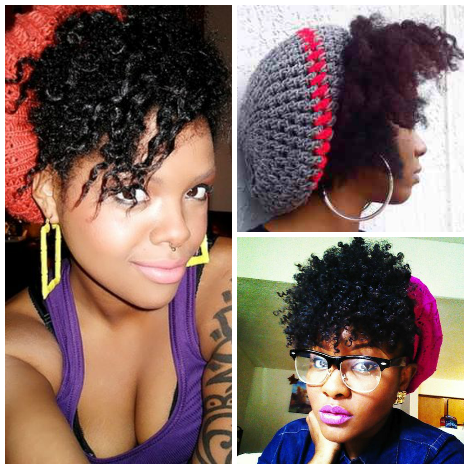An array of beanies and natural hair styles hairthropology