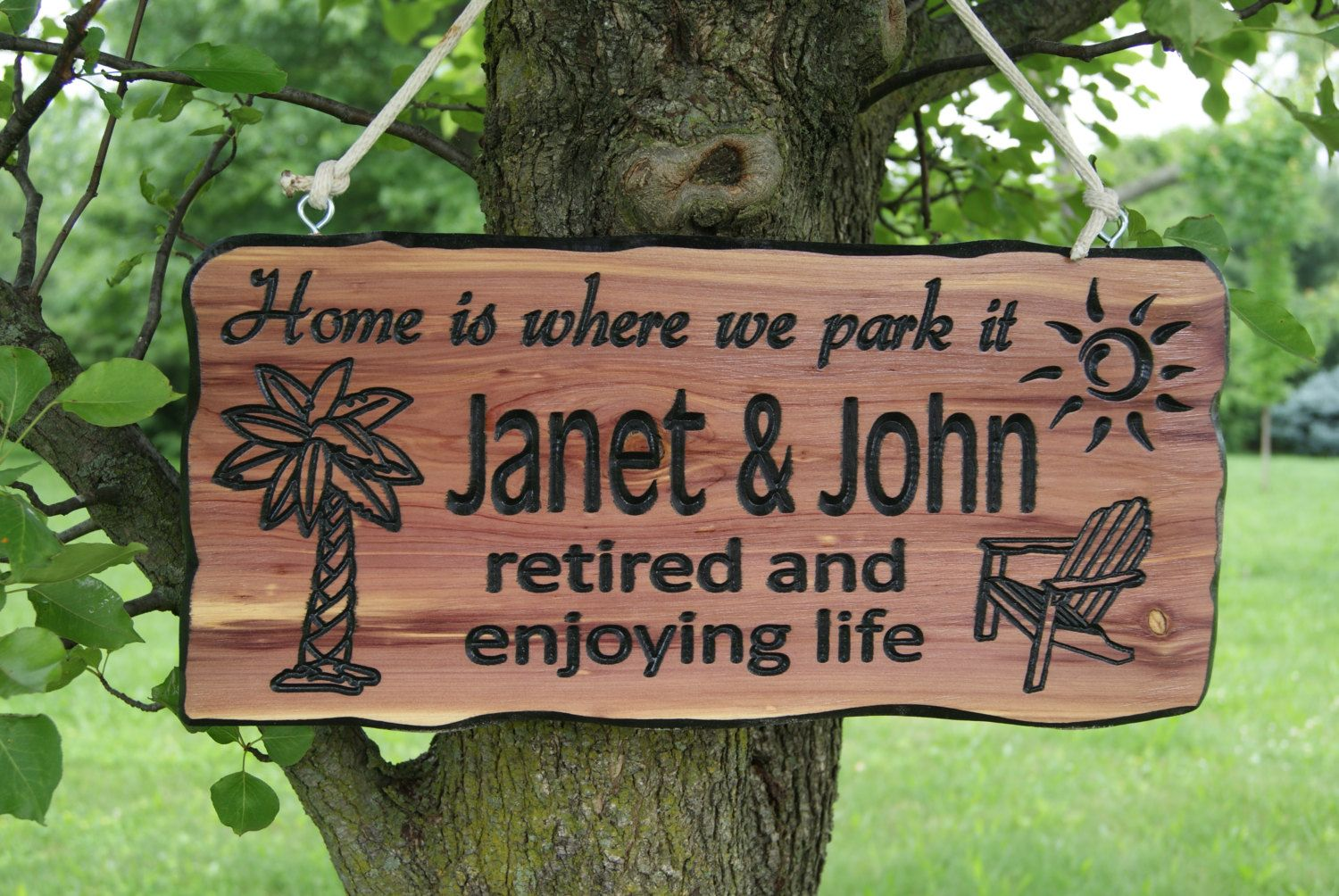 First Names Campsite Sign Personalized Carved Wooden Camping RV Sign ...