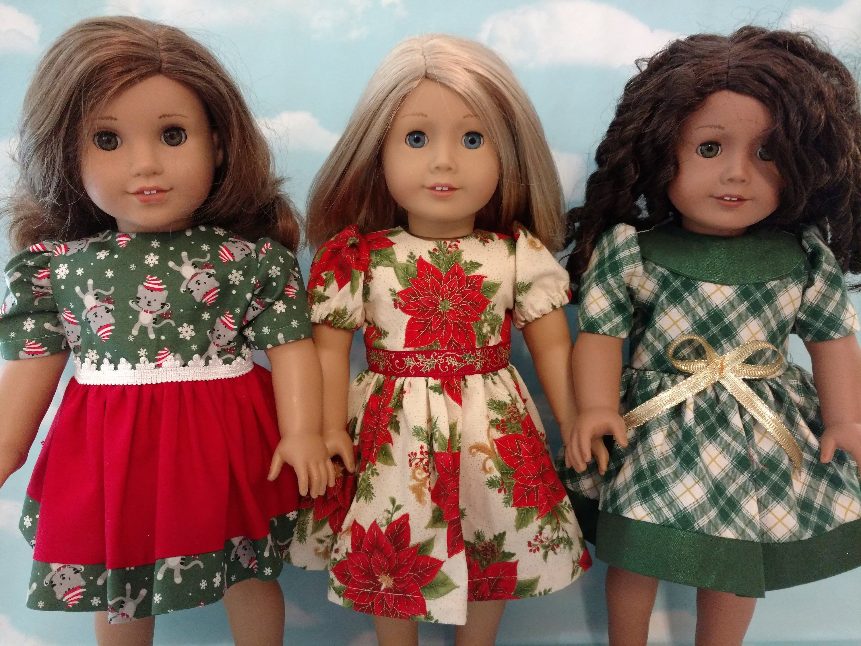 18 inch doll clothes, Christmas dress fits 18 American Girl Dolls c62abc #18inchdollsandclothes