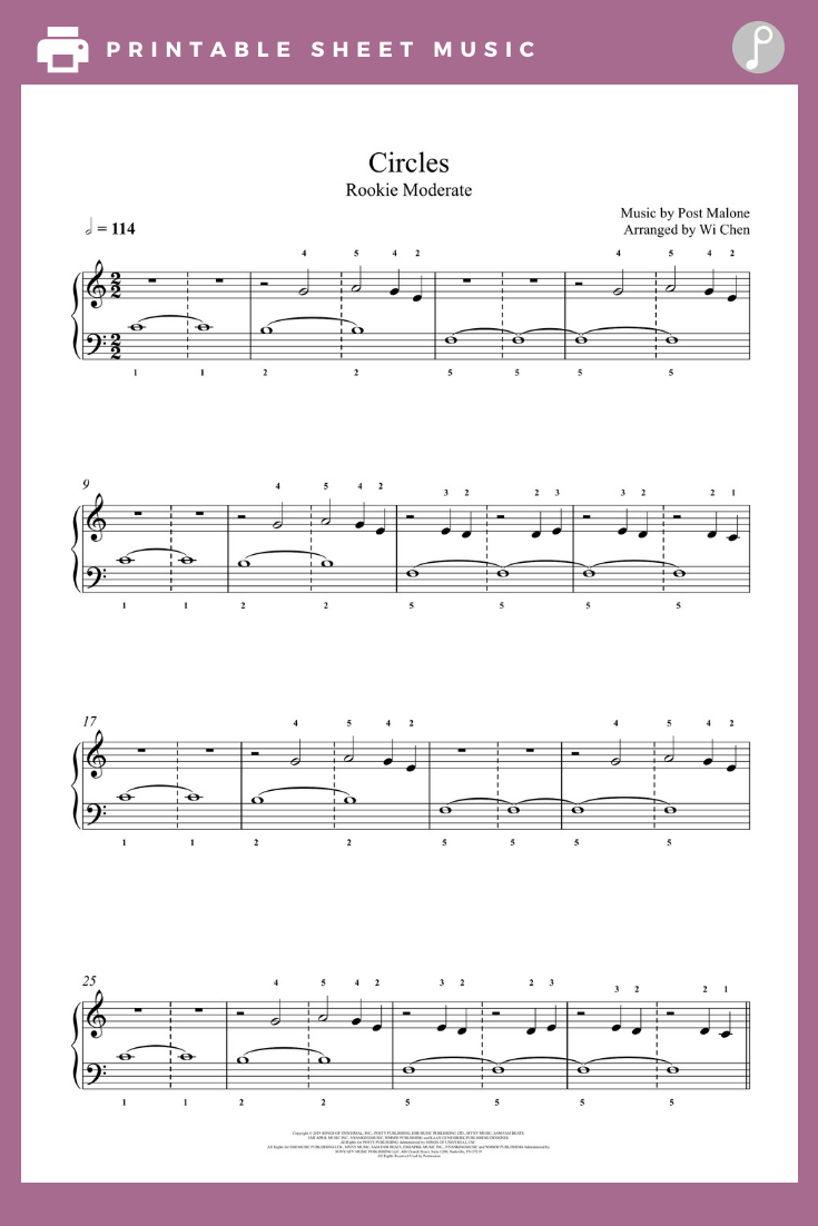 Circles by Post Malone Piano Sheet Music Rookie Level in