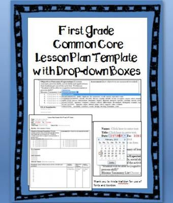 1st Grade Common Core Planner With Drop Down Boxes Lesson Plan