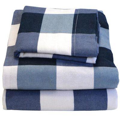 Ivy Union Plaid Check 100 Cotton Sheet Set Sheet Sets Cotton Sheet Sets Cotton Flannel