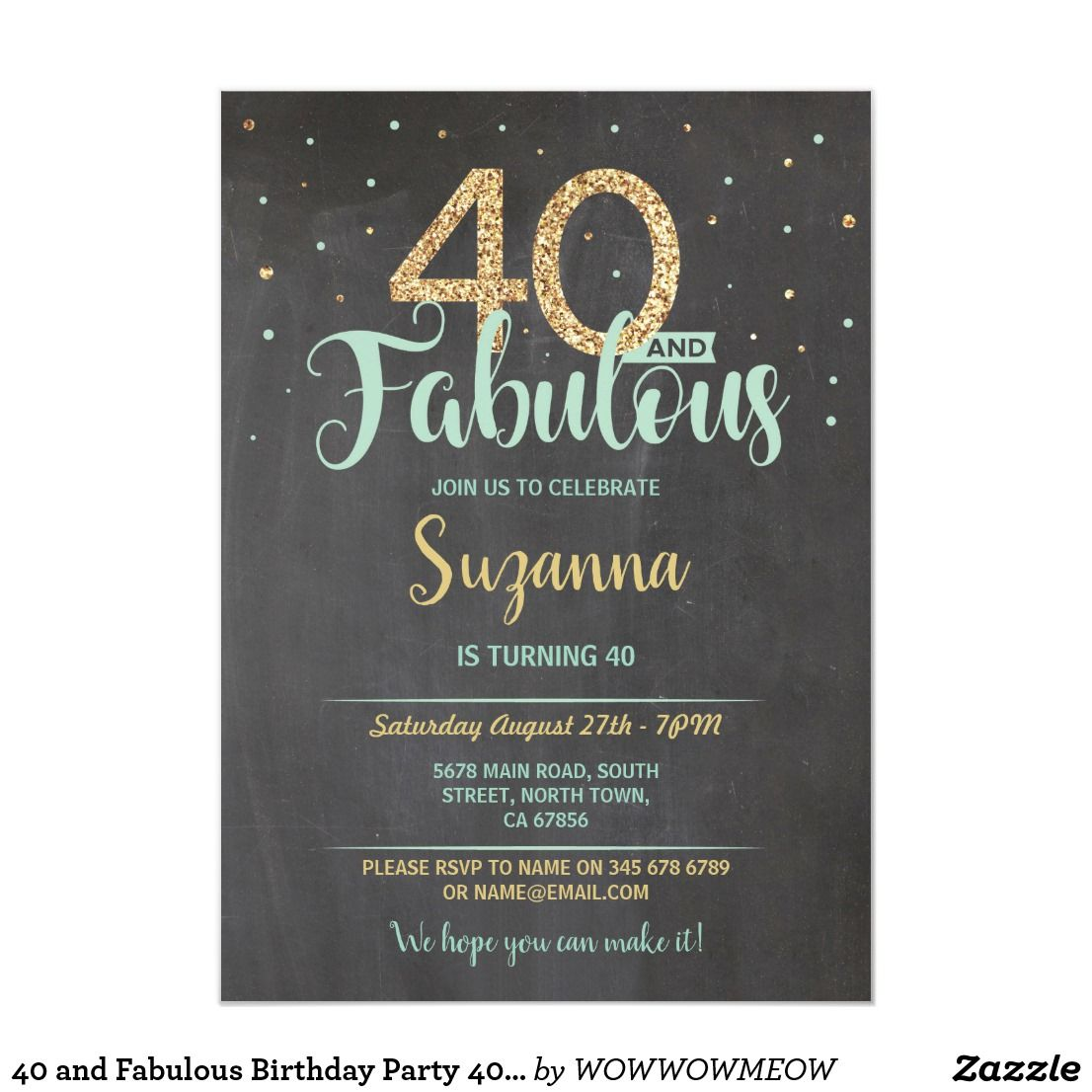40 and Fabulous Birthday Party 40th Mint Gold Invitation