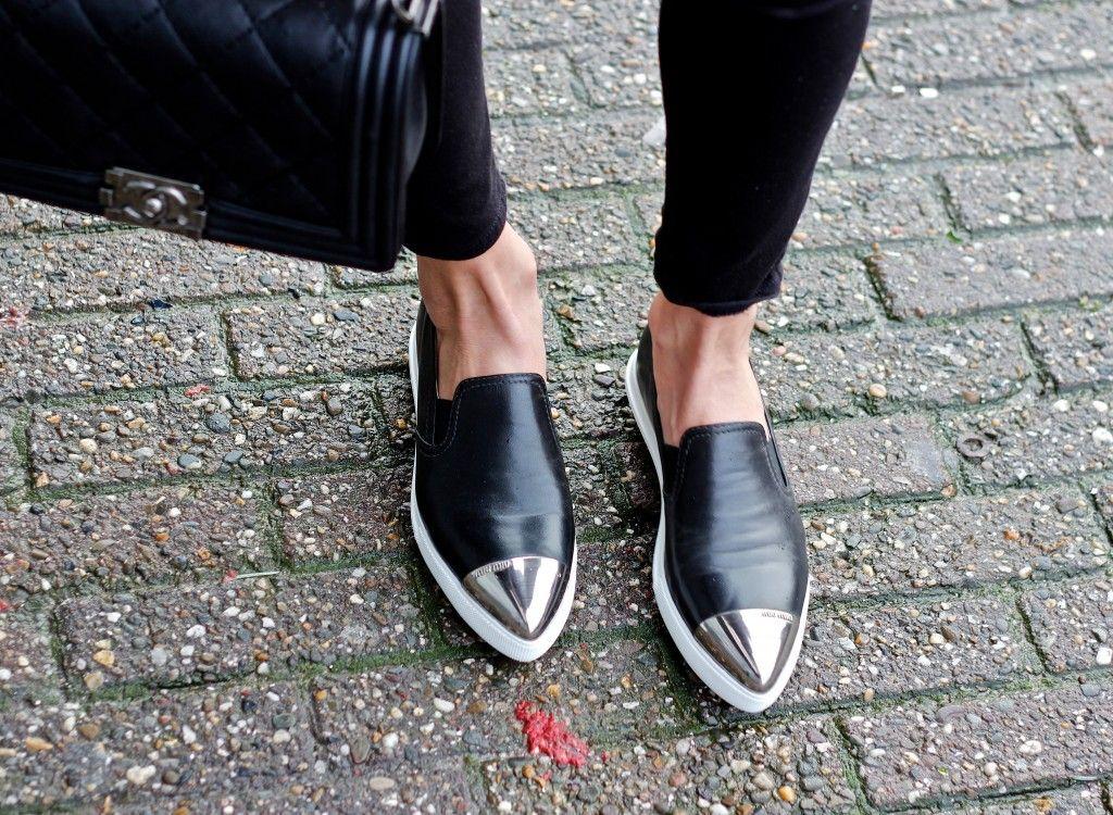Crackled Leather and Miu Miu Slip-ons | Negin Mirsalehi