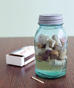 Corks stored in alcohol.  Use as fire starters.