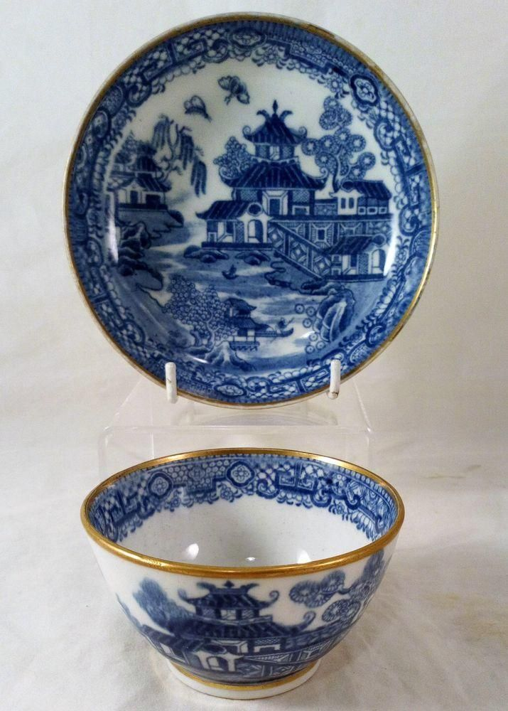 New Hall Porcelain Two Moths Willow Pattern Tea Bowl