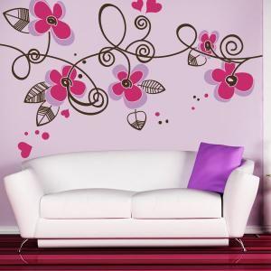 Pintado Flor Rosa Pegatinas Cuarto Del Bebé Pared Decoración para Ventana Arte