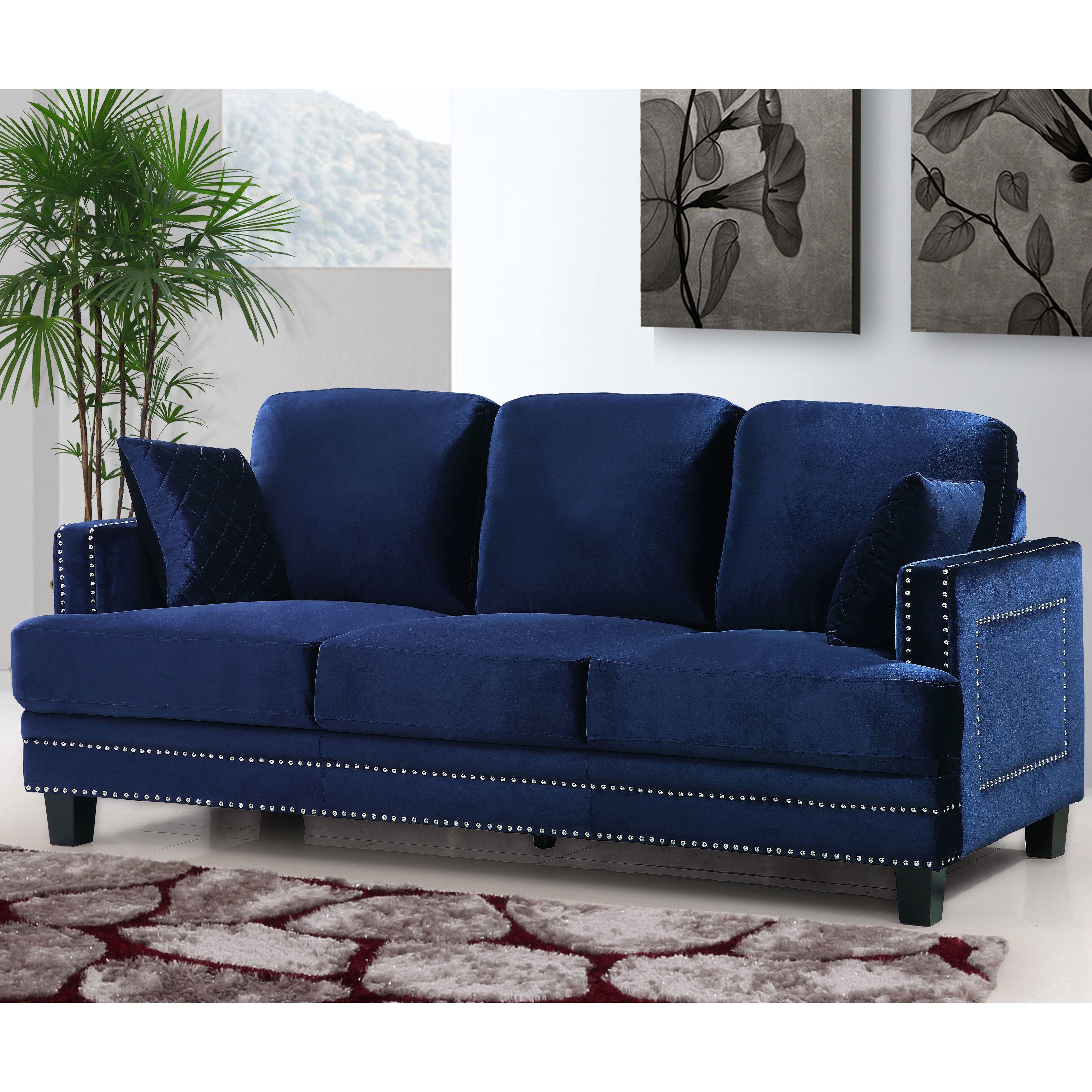 Ferra Nailhead Sofa Wayfair Home Bits Sofa Sofa Furniture Velvet Sofa