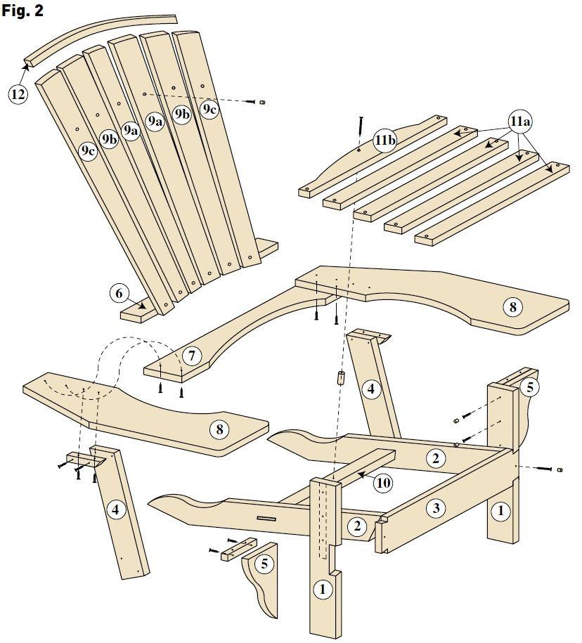 Un fauteuil adirondack bois le bouvet chaise pinterest fauteuil adirondack fauteuils - Plan de chaise adirondack gratuit ...