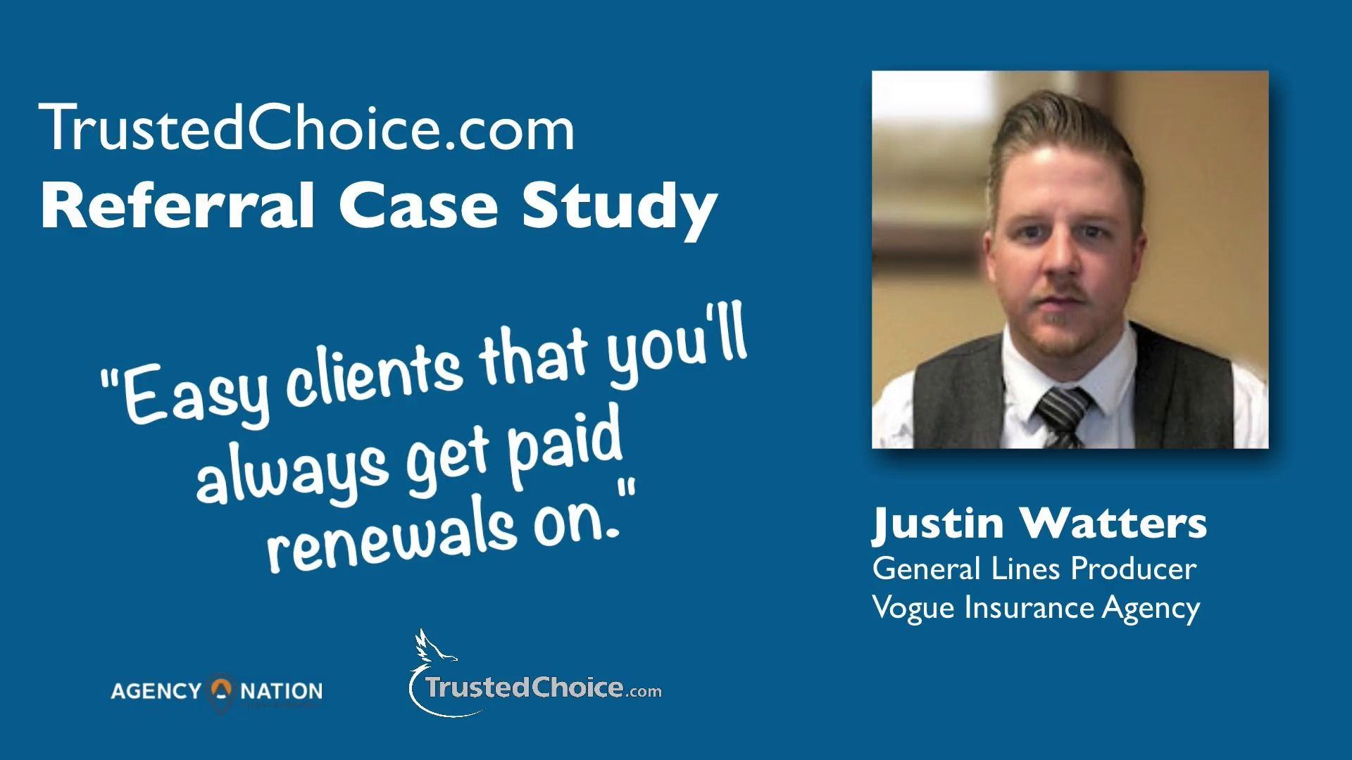 On April 19th 2016 Marty Agather Vp Of Business Development At Trustedchoice Com Interviewed Justin Watters Producer At Insurance Marketing Insurance Agency