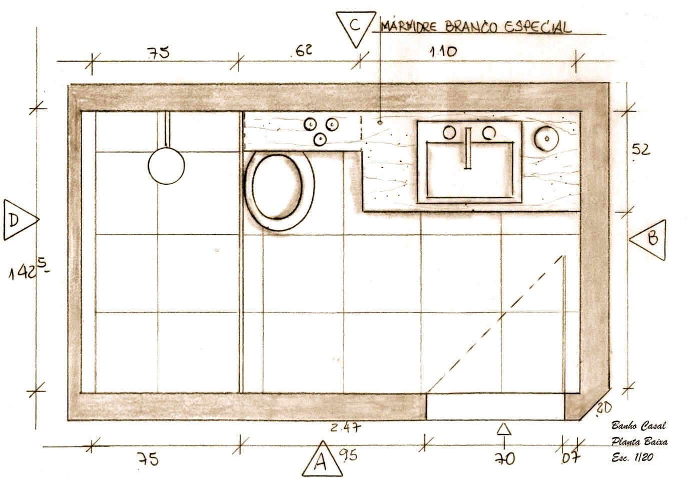 Suíte Casal  Banheiro Planta Baixa  Projeto Ana Lucia Nunes  Banheiros  P -> Projeto Banheiro Com Banheira Planta Baixa