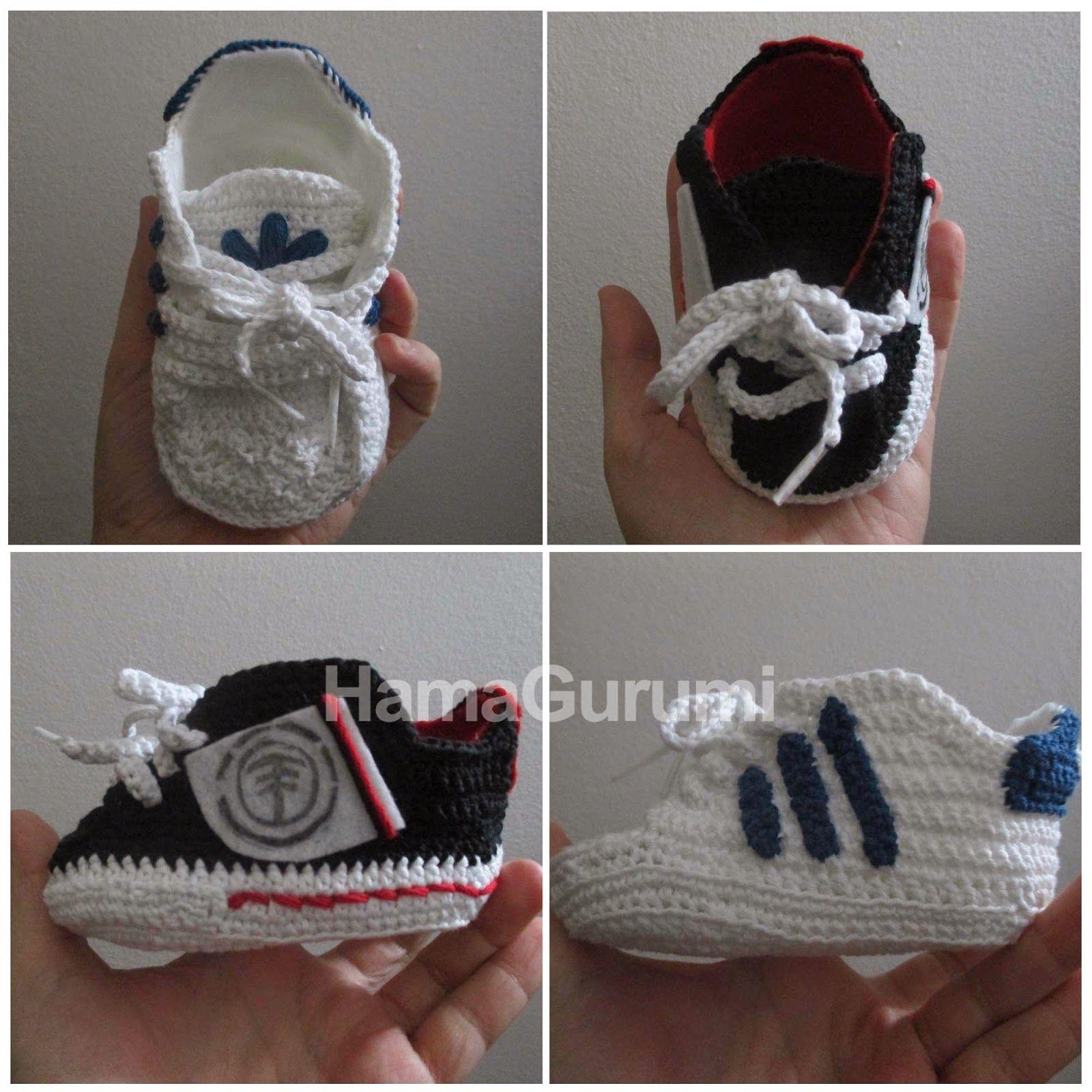zapatitos de bebe a crochet adidas