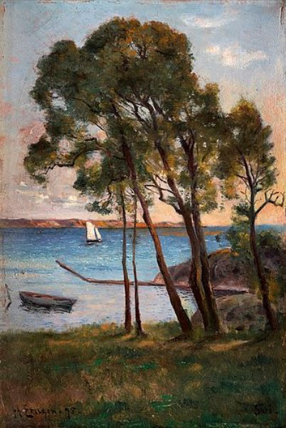 Johan Ericsson (1849-1925): Coastal View From Särö With Sailboat, 1895