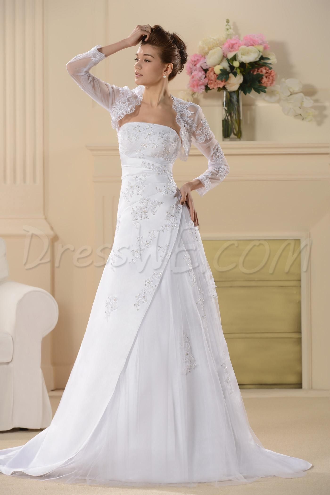 Wedding renewal dresses for beach  Wedding dress features beaded chantilly lace appliques across bodice