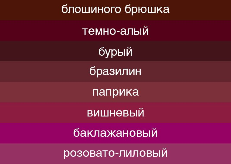 Оттенки красного цвета палитра