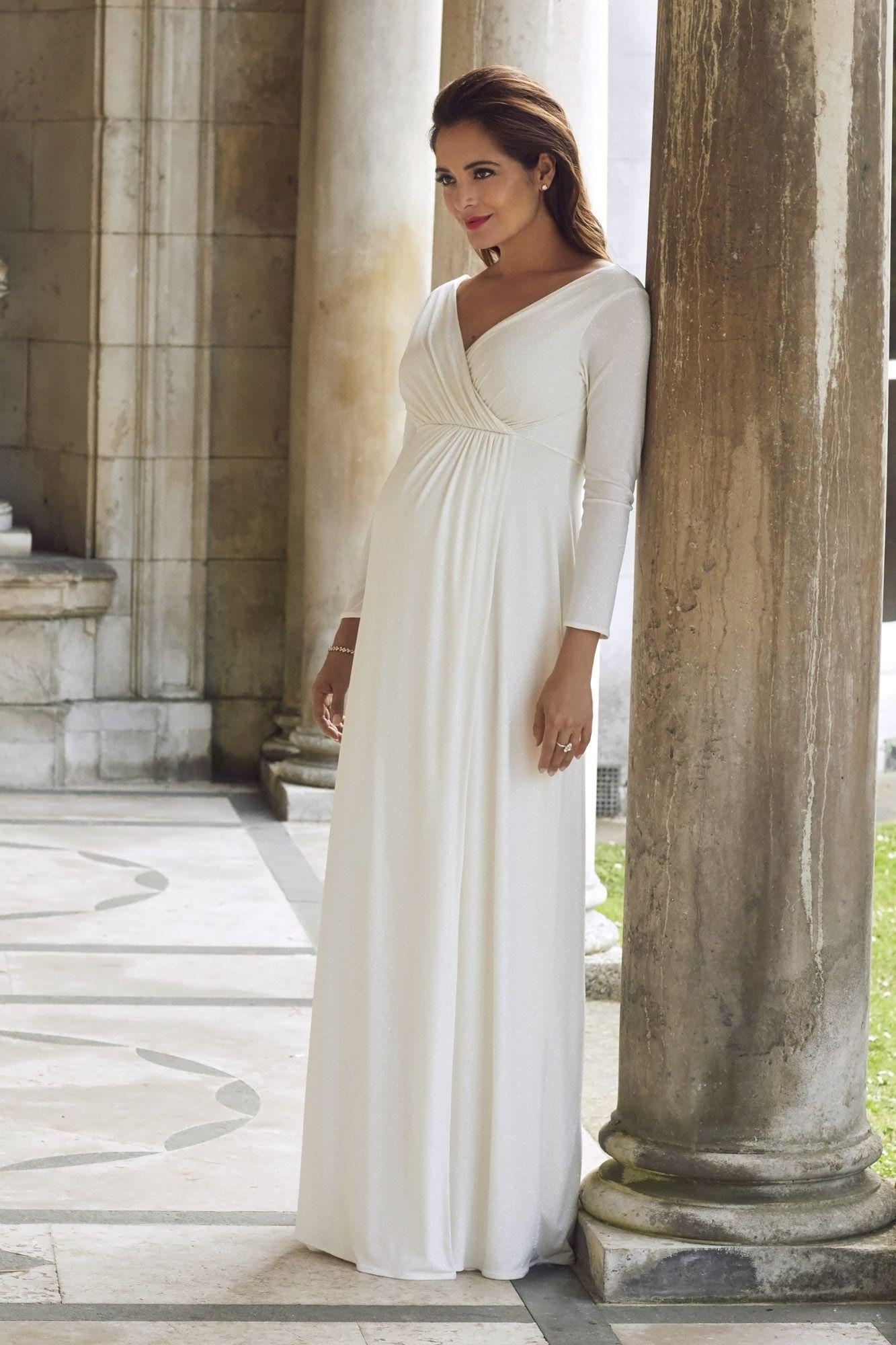 Glitzerndes Schwangerschaftsbrautkleid in 14  Brautkleid