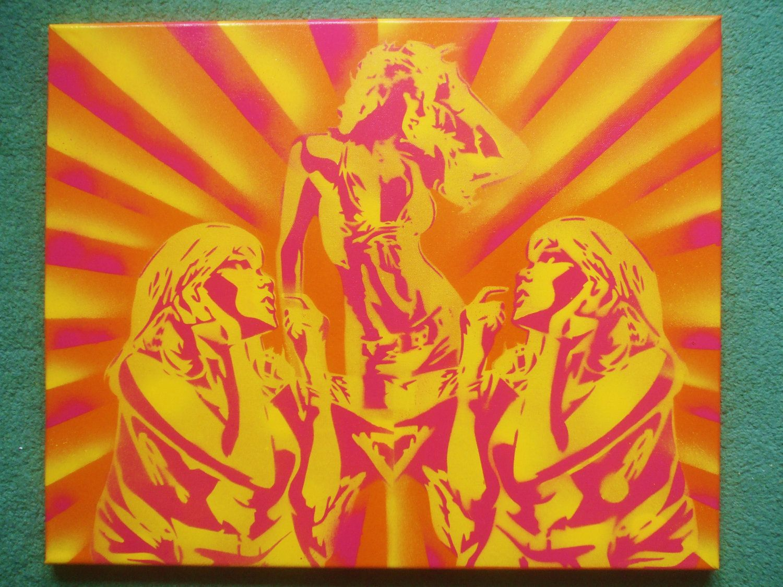 Disco dancer painting spray paint art stencil art canvas orange ...
