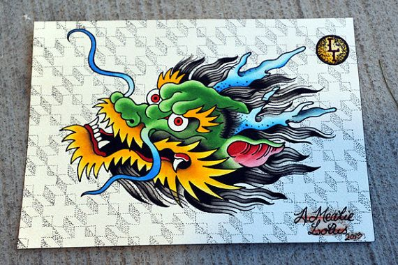 Img0 Etsystatic Com 024 0 6652064 Il 570xn 478992206 1bro Jpg Dragon Head Tattoo Traditional Tattoo Dragon Japanese Dragon Tattoos
