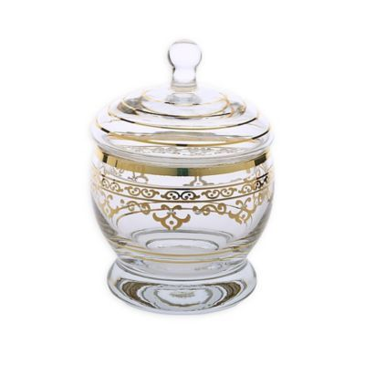 Classic Touch Glim Glass Jar With Lid In Gold Glass Jars With Lids Glass Jars Jar