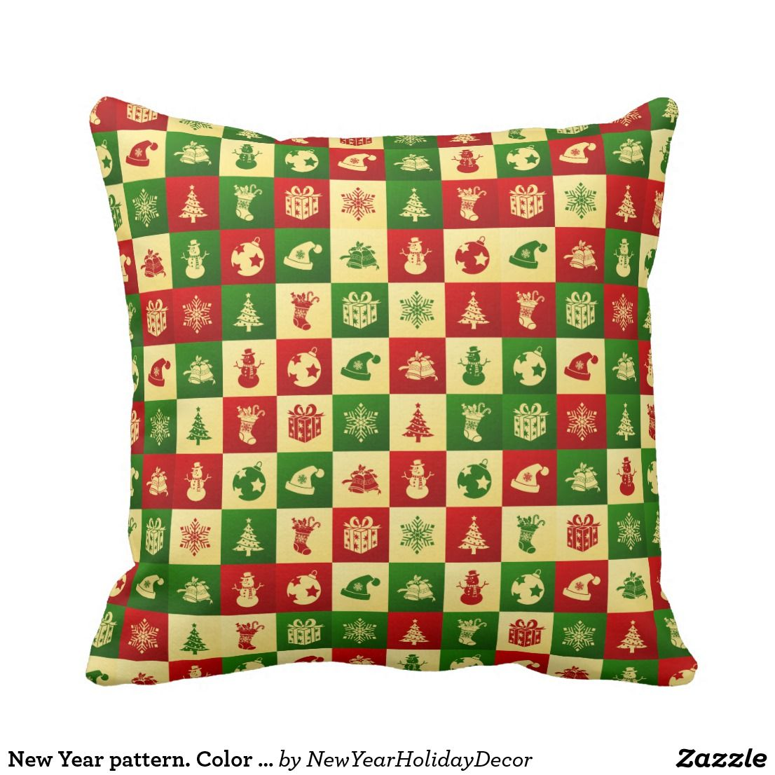 New year pattern color mosaic throw pillow