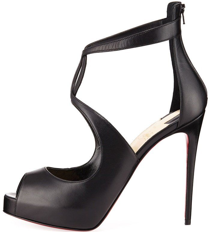 2dc917d8c30 Black Leather Christian Louboutin Rosie Peep Toe Pumps With Curvy Criss-Cross  Straps   Keyhole Detail