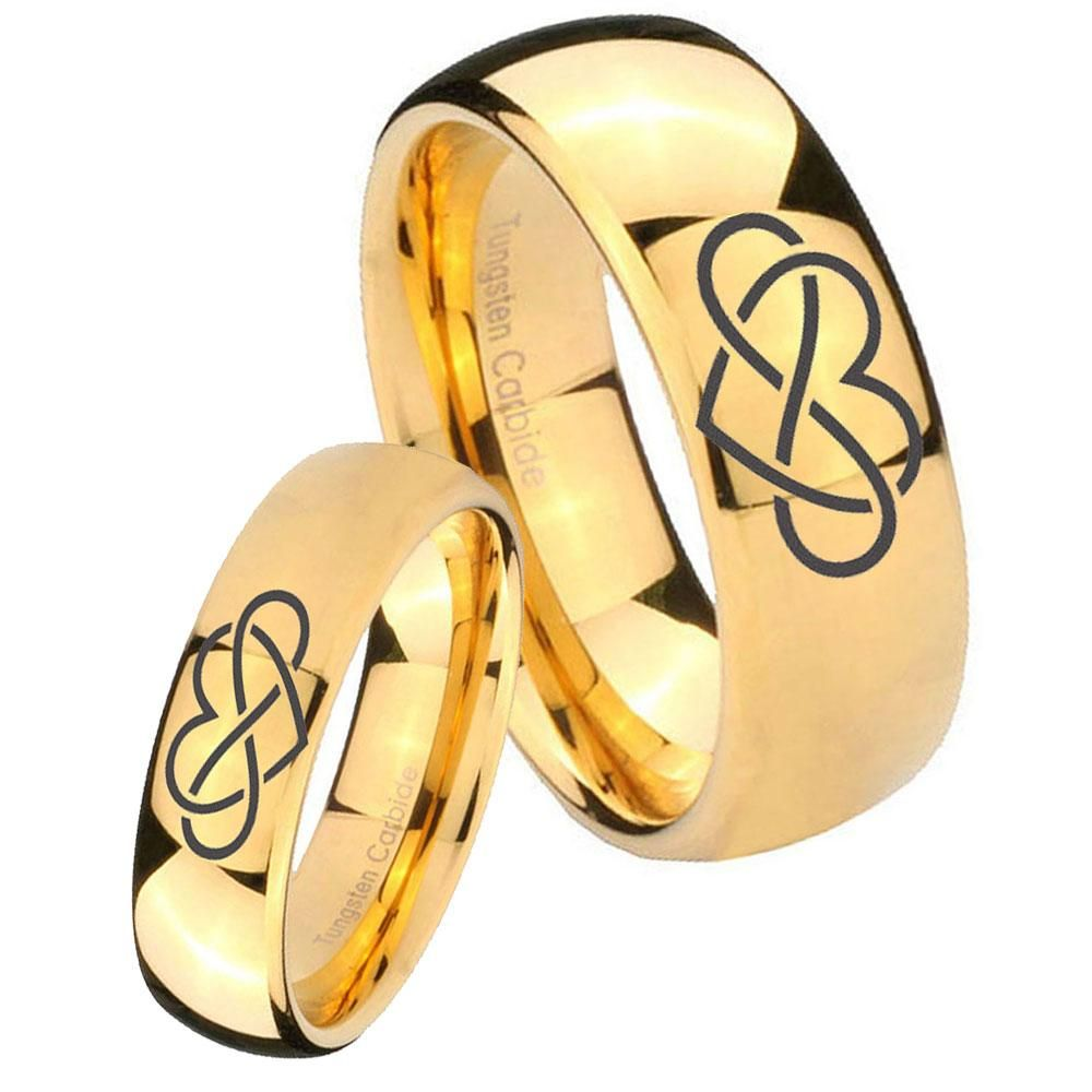 Bride and groom infinity love dome gold tungsten mens