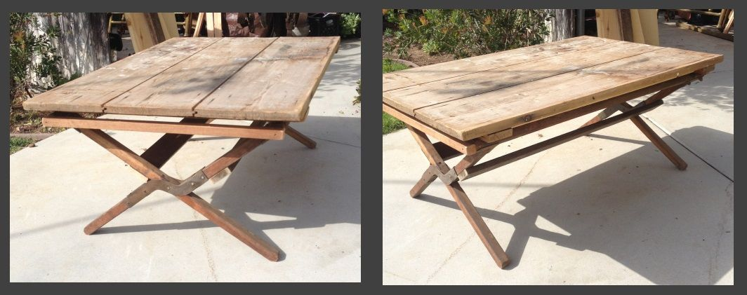 """Cot Coffee Table. I used an old cot frame, cut it down to fit a rustic table top I had and made this really nice coffee table. The table measures approximately 2'x3' and is about 17"""" tall."""