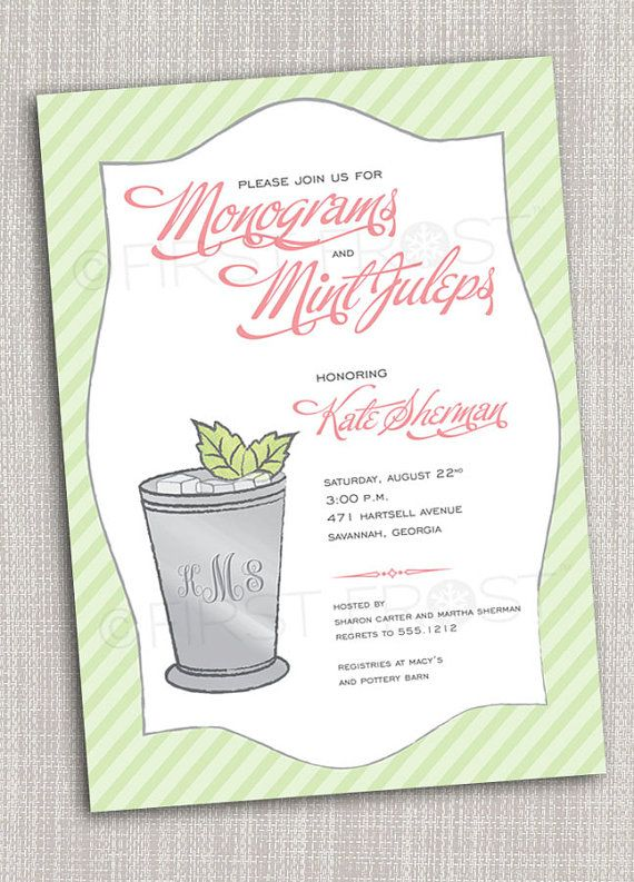 monogram and mint juleps printable invitation by firstfrostdesigns 1250