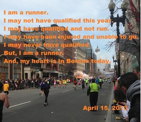 From one runner to many others... so much gratitude in my heart for the safety of my friends who ran today
