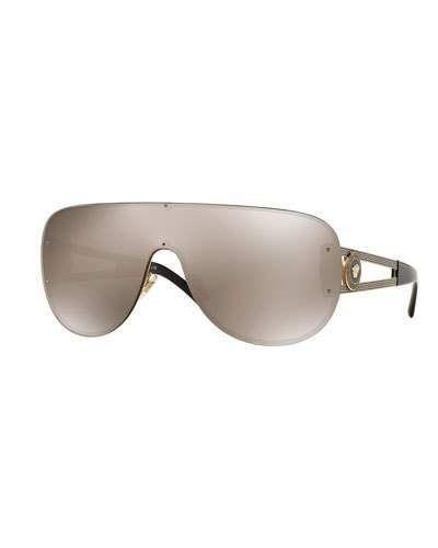 56621888538e Versace Mirrored Greek Key Shield Sunglasses, Golden Brown - $230.00 ...