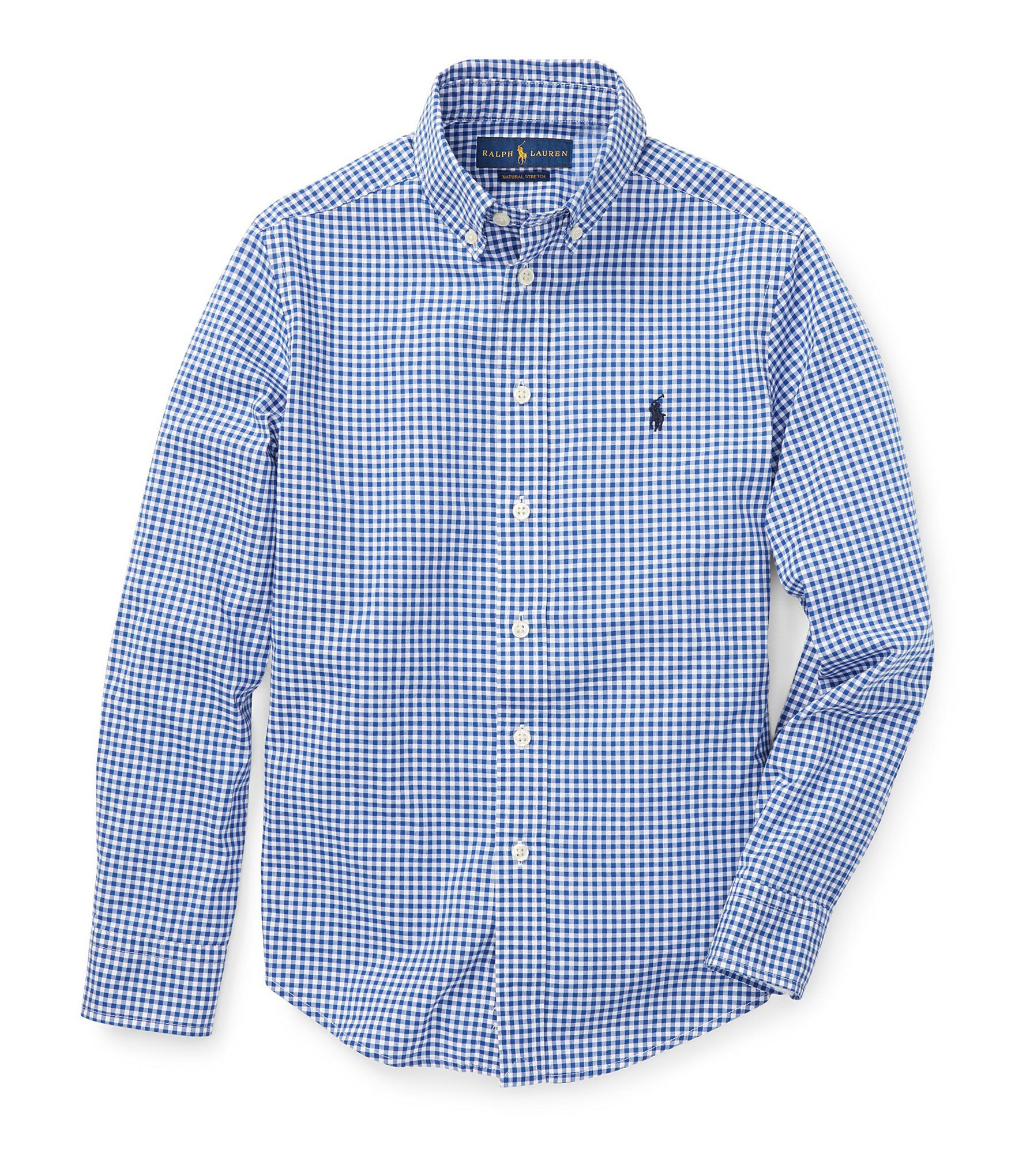 RALPH LAUREN Boys Checked Long Sleeve Shirt Green Multi