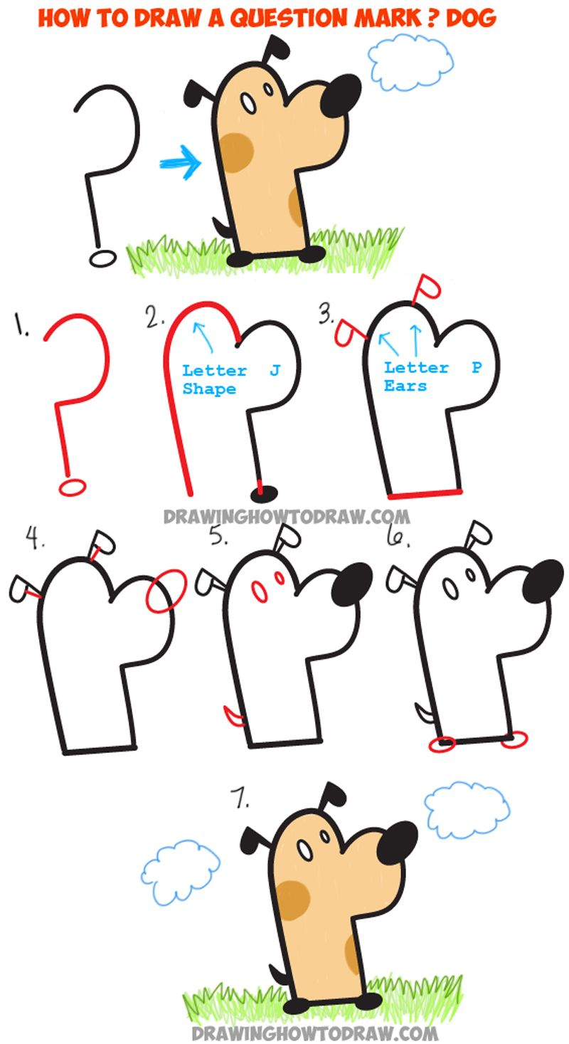 Learn How To Draw A Cartoon Dog From A Question Mark : Easy Step By Step