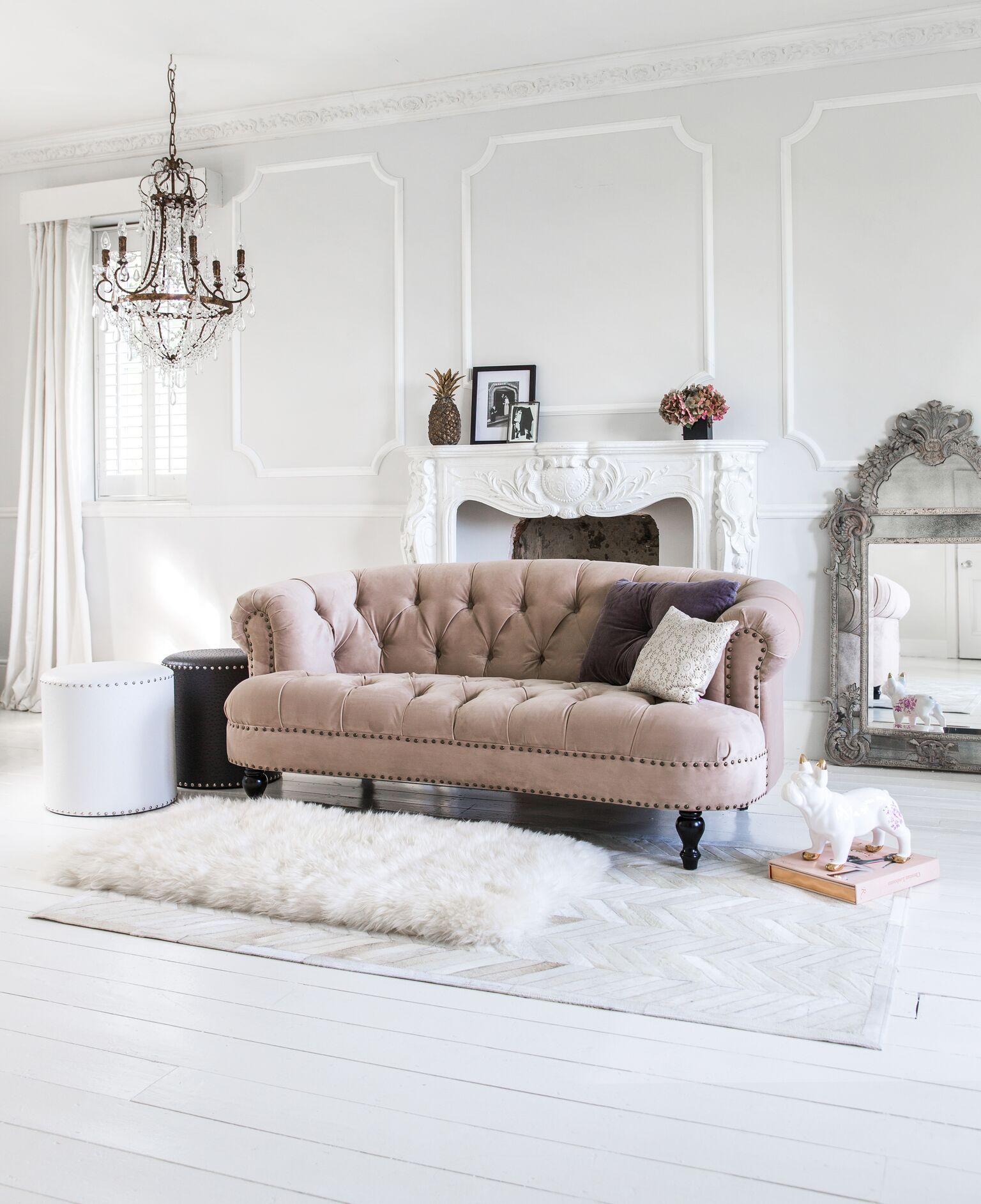 Chablis Roses Mink Velvet Sofa Luxury Sofa Black Dining Room Home Decor Mink living room decor