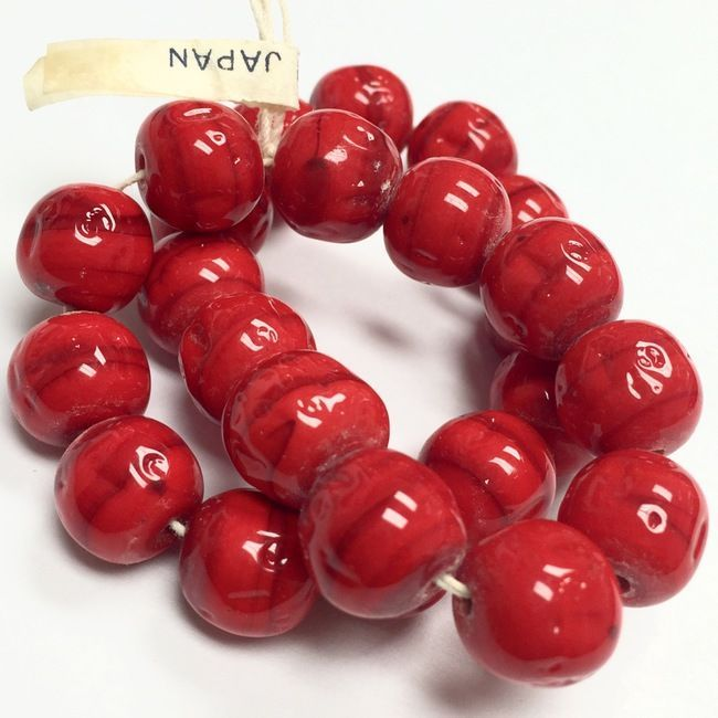 RARE! Vintage Miriam Haskell Baroque Glass Beads-Red-12mm-VB848