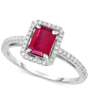 Ruby (1-1/4 ct. t.w.) & Diamond (1/5 ct. t.w.) Ring in 14k White Gold - Red
