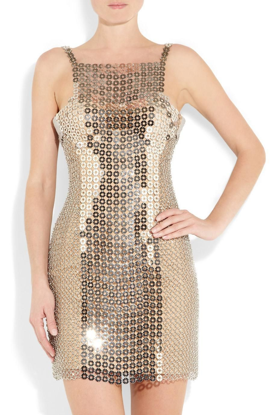 985218179d4 Versace chain-mail and silk-satin mini dress it 38 uk 6 8