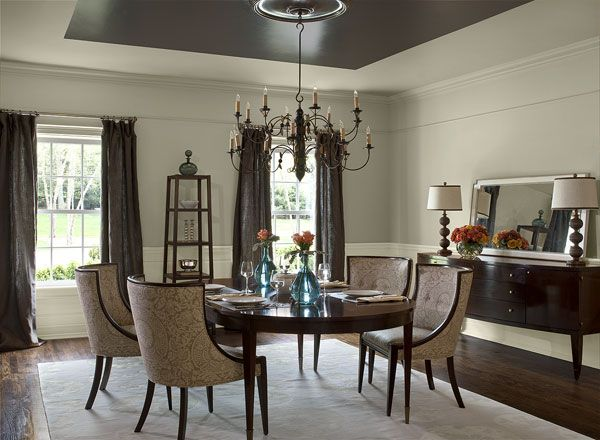 Dining room ideas inspiration teal accents benjamin for Dining room ceiling paint ideas