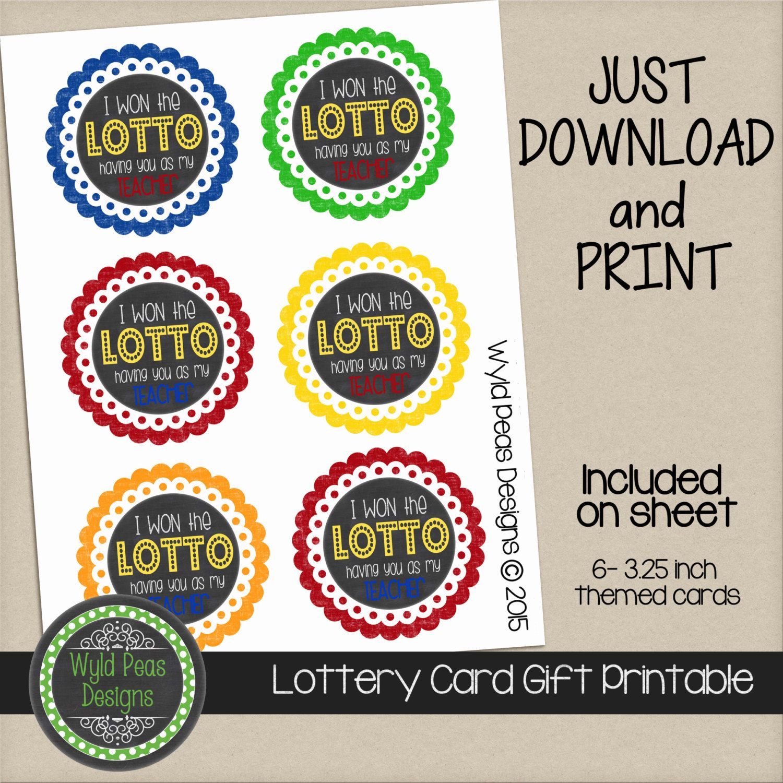 Free Birthday Lottery ~ Printable lottery gift card lotto pdf jpeg pinterest