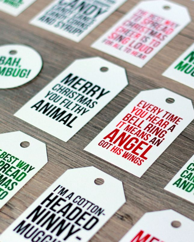 20 printable gift tags to the holiday rescue large prints free printable christmas movie quote gift tags sister inspirations from the happy tulip negle Gallery