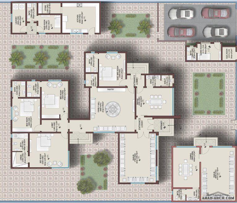فيلا طابق واحد خليجى 382 متر مربع 4 غرف نوم Square House Plans Model House Plan My House Plans