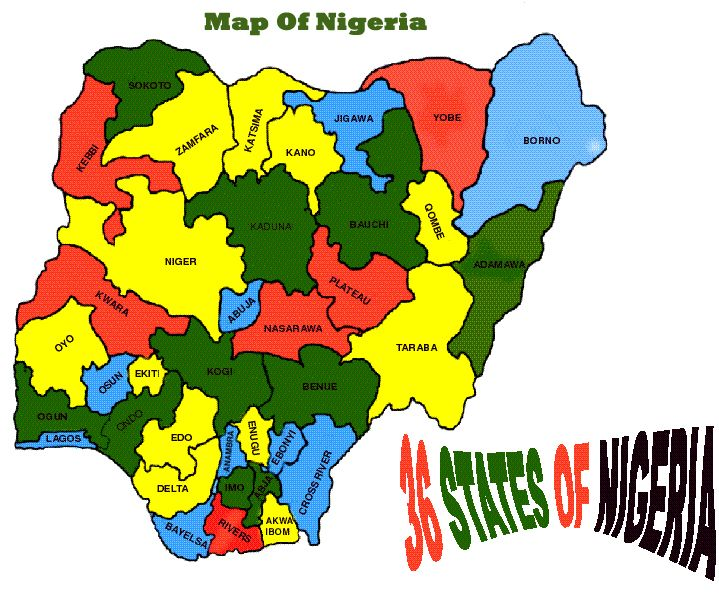 map of nigeria showing the 36 states - Google Search | Map of nigeria,  Nigeria, States and capitals
