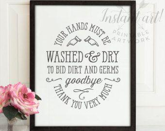 Bathroom Signs Wash Your Hands bathroom wall decor, printable art, bathroom art, flush toilet