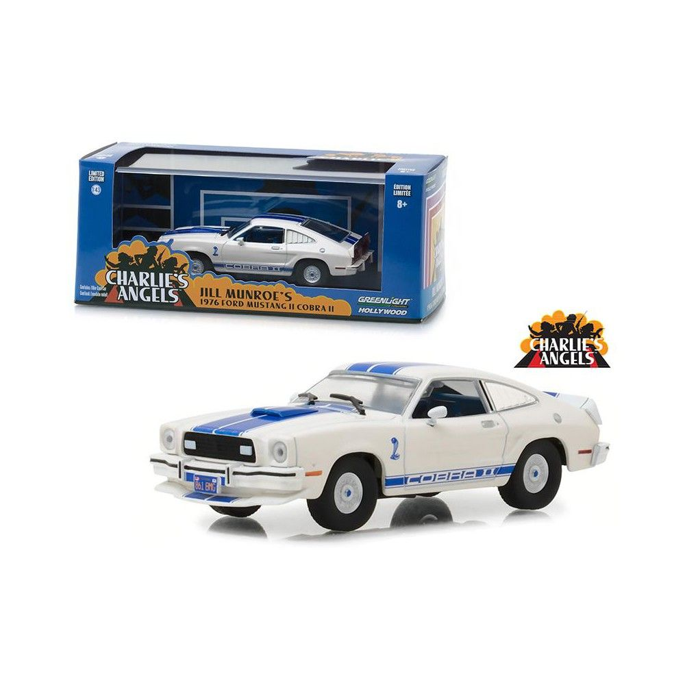 """1976 Ford Mustang Cobra II White """"Charlie's Angels"""" (1976-1981) TV Series 1/43 Diecast Model Car  by Greenlight"""